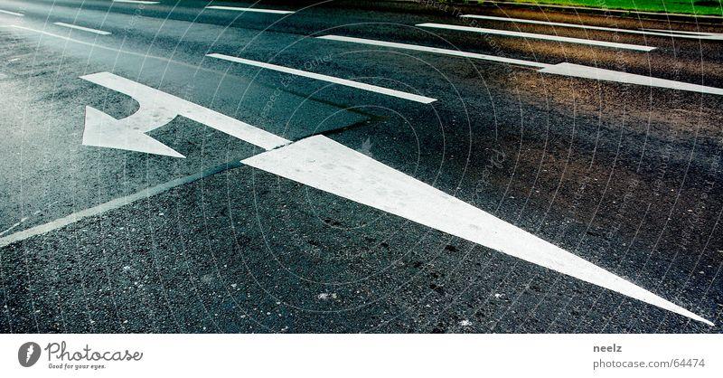 White Street Transport Asphalt Tracks Arrow Direction Find Orientation Road sign Turn off Main street