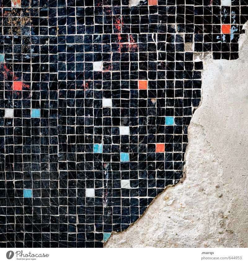 three quarters Lifestyle Elegant Style Design Line Tile Mosaic Old Exceptional Cool (slang) Dirty Hip & trendy Uniqueness Broken Blue Red Black White Colour