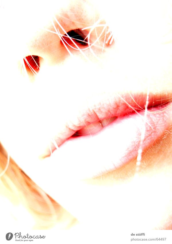 lonely.lips Lips Nostril Loneliness Back draft Grief Caress Woman Lady Mouth Nose Face Bright Pallid Longing Sadness Hair and hairstyles Contrast Detail of face