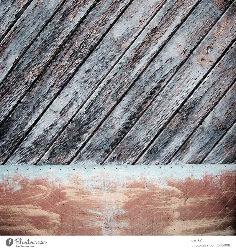 nailed down Gate Wood Metal Old Gloomy Dry Colour Contentment Equal Protection Transience Diagonal Wood grain Wooden board Tilt Tin Rivet Dye Red