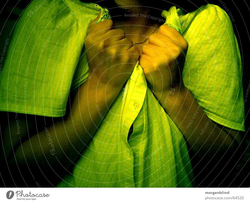 [standstill] Stagnating Stand Green Yellow Hand Fist Fear woman Emotions sentimental Pain Calm Sadness