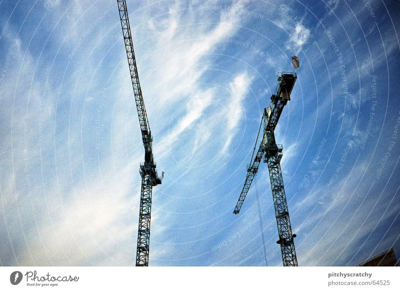 When the crane pulls Far-off places Impressive Construction site Clouds Weight Work and employment Large Worm's-eye view Sky Tall Professional life Redevelop