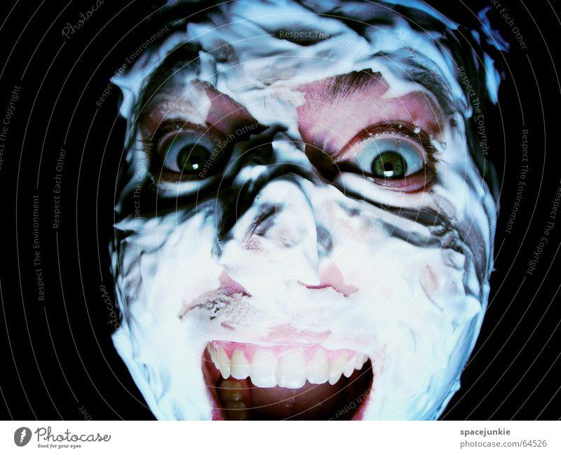 Human being Man Green Face Black Eyes Dark Fear Crazy Force Personal hygiene Evil Freak Shave Alarming