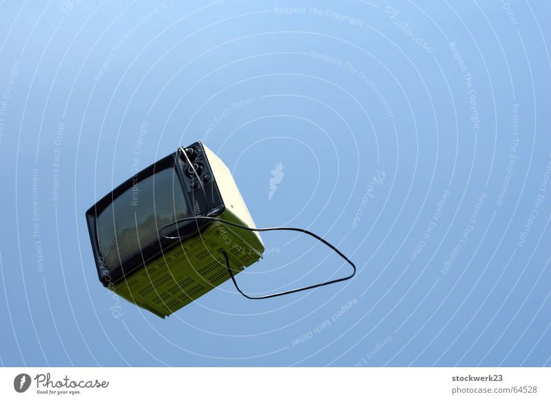 break your TV! TV set Television Sky Media Throw tossing Liberate liberation Happy flying