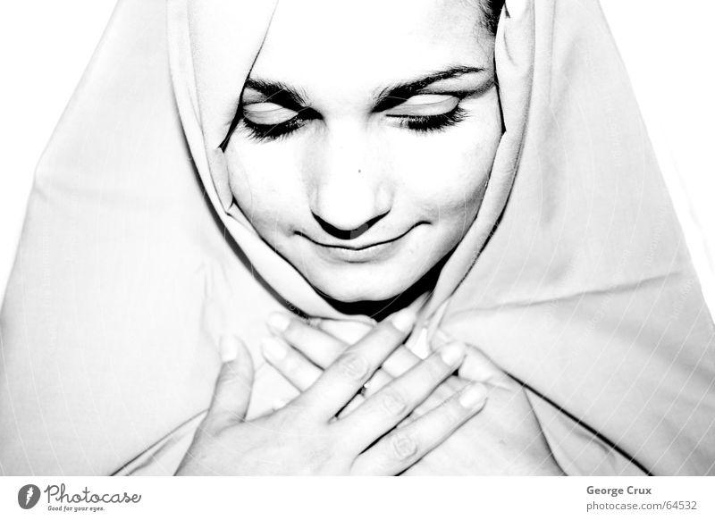 Mary I Ave Maria saint sacred person woman faithful praying fé b&w