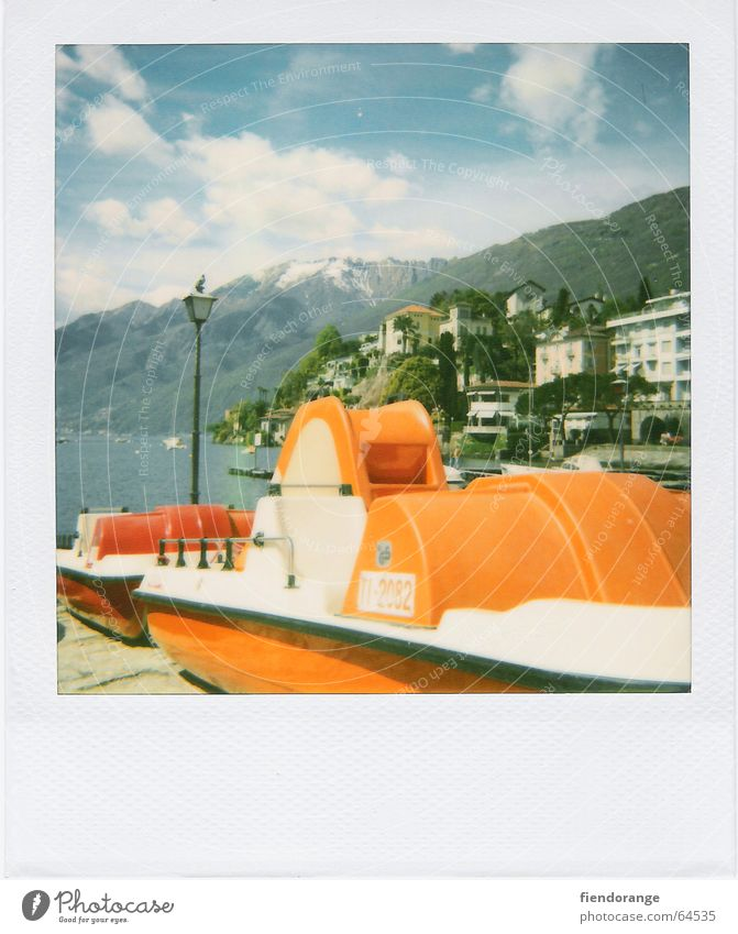 retro boat Watercraft Bird Lantern Clouds Vacation & Travel House (Residential Structure) Switzerland Sky pedal boat Polaroid