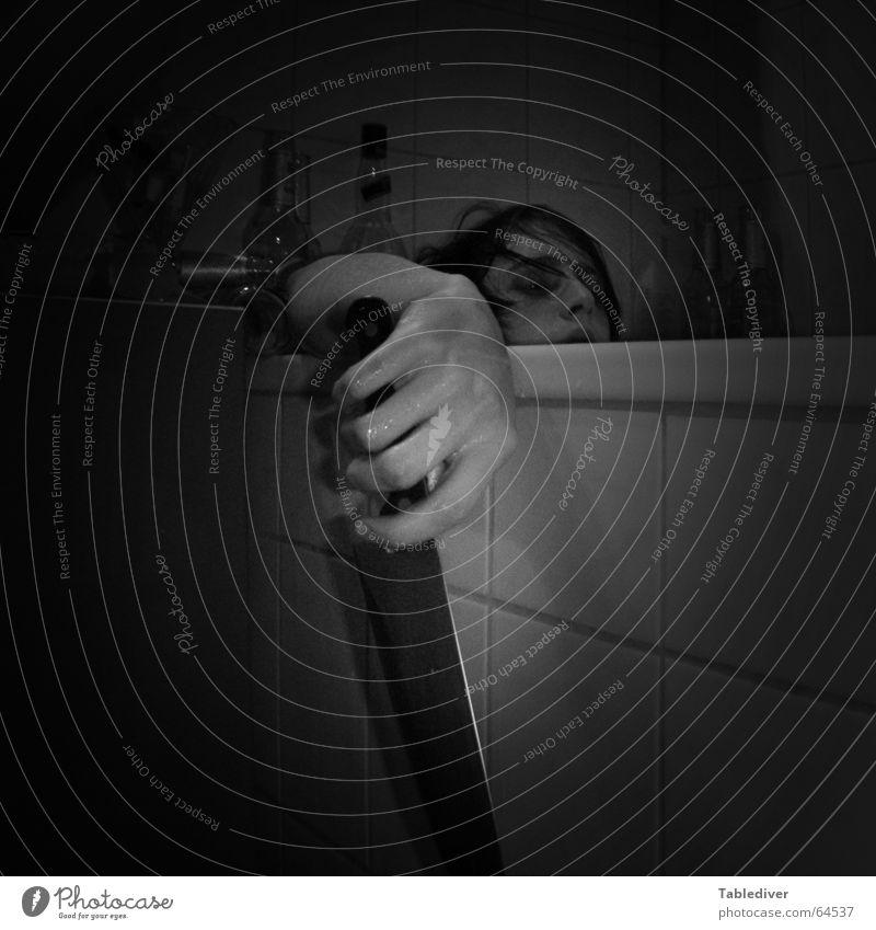Morbid self-portrayal Bathroom Hand Fingers Bathtub Suicide Knives Tile Pallid Death Sadness