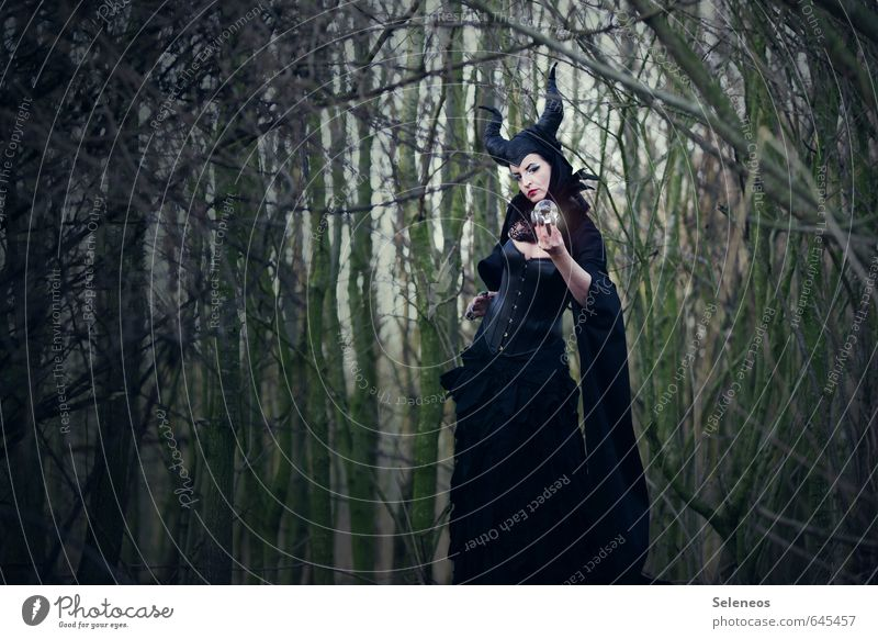maleficent Carnival Human being Feminine Woman Adults 1 Subculture Environment Nature Forest Fairy tale Enchanted forest Witch Mythology Fortune-telling Antlers