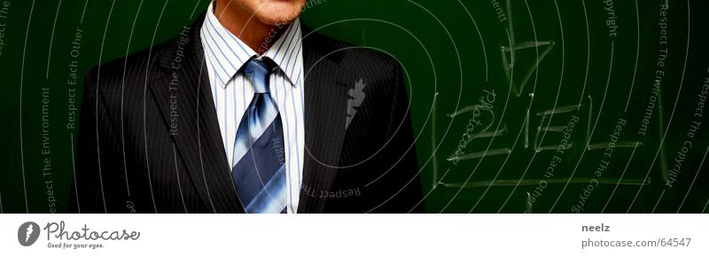target Man Tie Suit Speech Blackboard Pinstripe Shirt White Businesspeople Work and employment Chalk Target Businessman