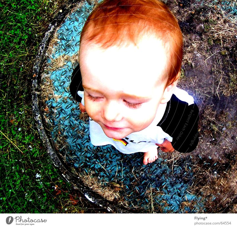Child Red Face Grass Boy (child) Hair and hairstyles Laughter Small Germany Baby Sweet Cute Toddler Red-haired Gully