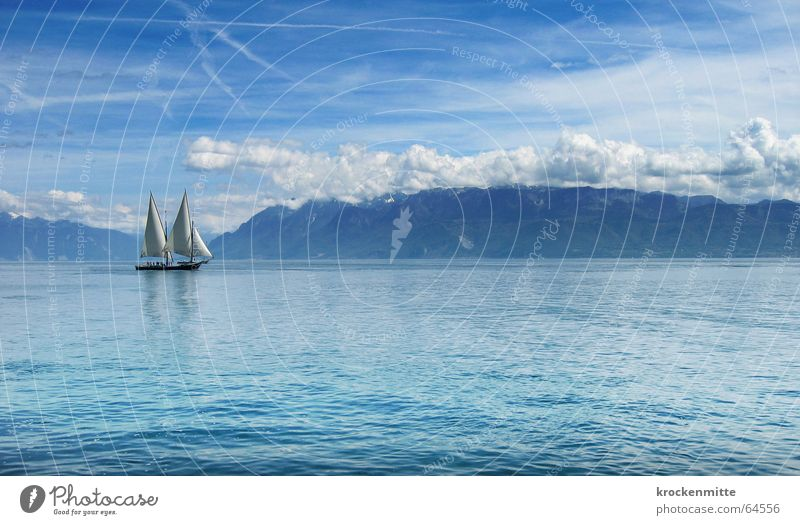 Water Blue Calm Clouds Relaxation Mountain Lake Watercraft Waves Wind Leisure and hobbies Switzerland Sailing Navigation Sports Sunday
