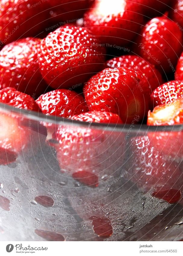 steamed strawberries Fruit Nutrition Bowl Summer Drops of water Glass Cool (slang) Fragrance Fresh Cold Delicious Juicy Sweet Red Refreshment Strawberry