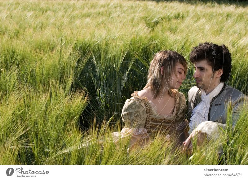 a bed in the cornfield... Kissing Green Wheat Field Cornfield Ear of corn Spring Baroque Grain Couple Love Carnival costume Stage play Lovers Together