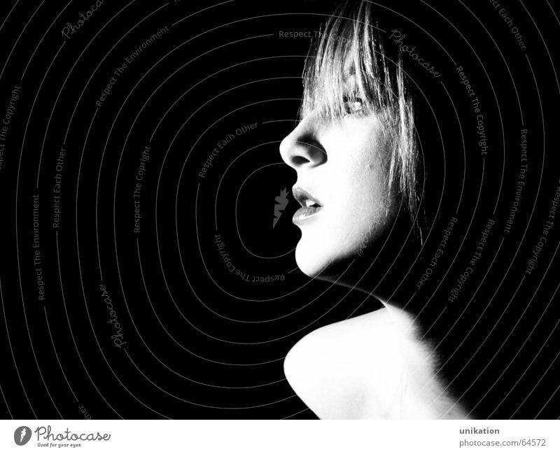 Woman White Black Face Eyes Head Lighting Nose Model Lips Alluring