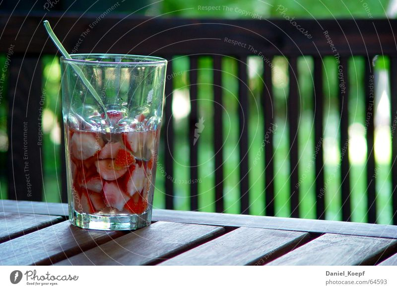 Red Summer Relaxation Garden Wood Glass Glass Table Fresh Beverage Break Alcoholic drinks Berries Refreshment Strawberry Spoon