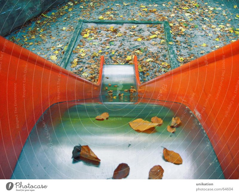 Red Leaf Loneliness Autumn Sadness Orange Geometry Playground Slide
