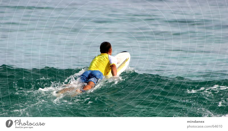 surfers paddling out Surfer Waves Ocean Yellow Green Surfing Water