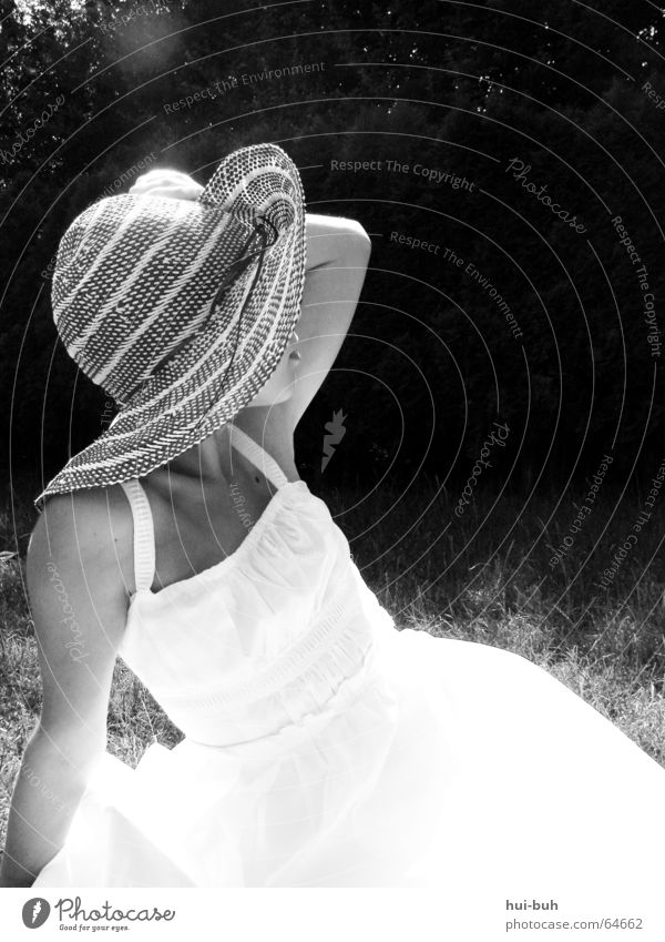 my.lady. White Black Hot Lady Light Looking Eye-catcher Young lady Woman Elegant Physics Hat Sun Garden Search Skin Human being Former Warmth