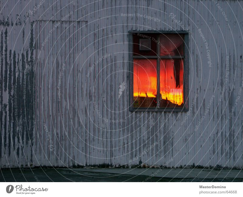 """""""Mom, the sky's on fire!"""" Window Reflection Mirror House (Residential Structure) Wall (building) Corrugated sheet iron Gray Indifference Plaster Tin"""