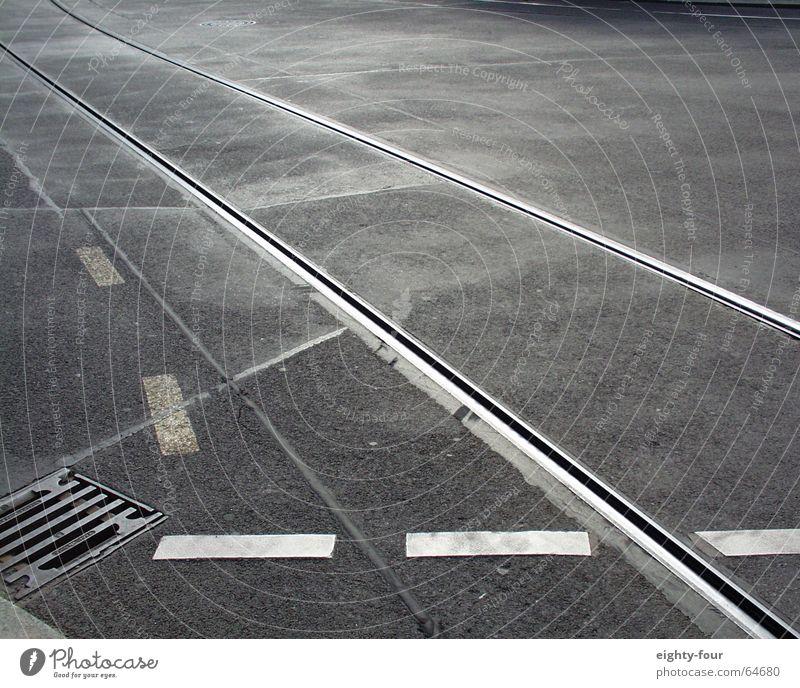 Street Gray Concrete Transport Railroad Driving Asphalt Railroad tracks Gully Tram Lane markings