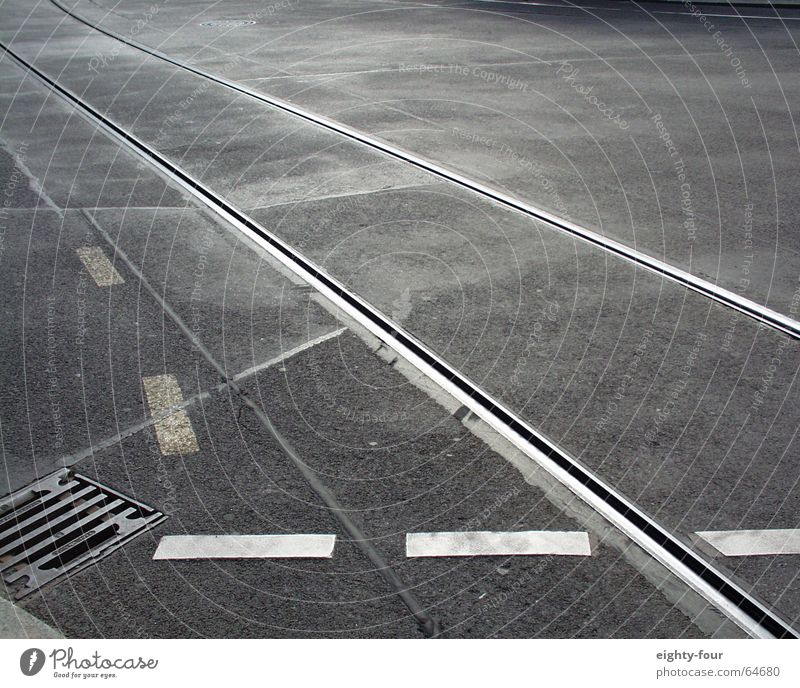 Street Gray Concrete Transport Railroad Driving Asphalt Railroad tracks Gully Tram Lane markings