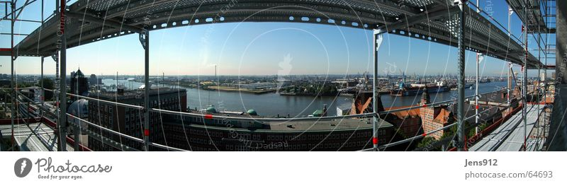 Hamburg container port Construction site Scaffold Wide angle Panorama (View) Downtown Industrial district High-rise Aluminium Rod Harbor city Harbour Elbe Sky