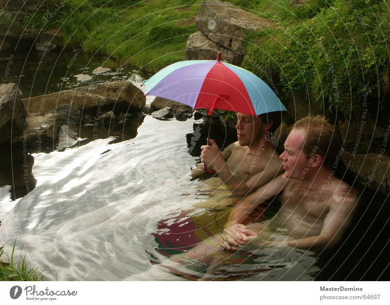 """""""Open your umbrella or we'll get wet!"""" Man Hot Source Brook Naked Grass Reflection Umbrella Multicoloured Wet Relaxation Wellness To talk Calm Serene"""
