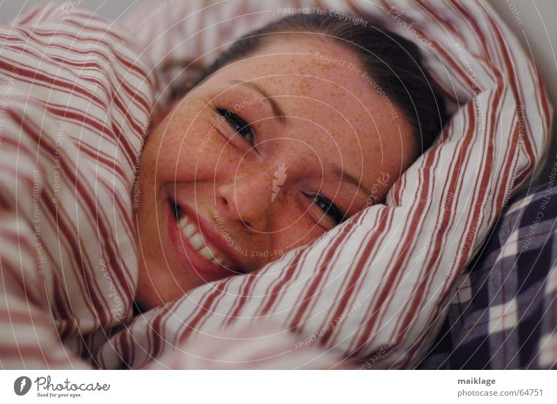 not yet tired Woman Young woman Bed Alert Night Cushion Stripe Freckles Joy Beautiful Laughter Face Pillow