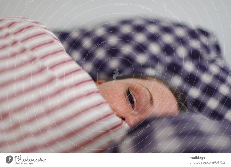 but tired Woman Young woman Bed Sleep Night Cushion Stripe Checkered Face Fatigue Pillow