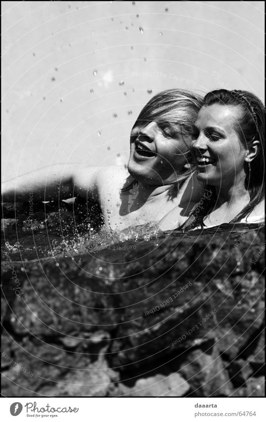 fontain Human being Grinning bw fun sun water day Wedding cold