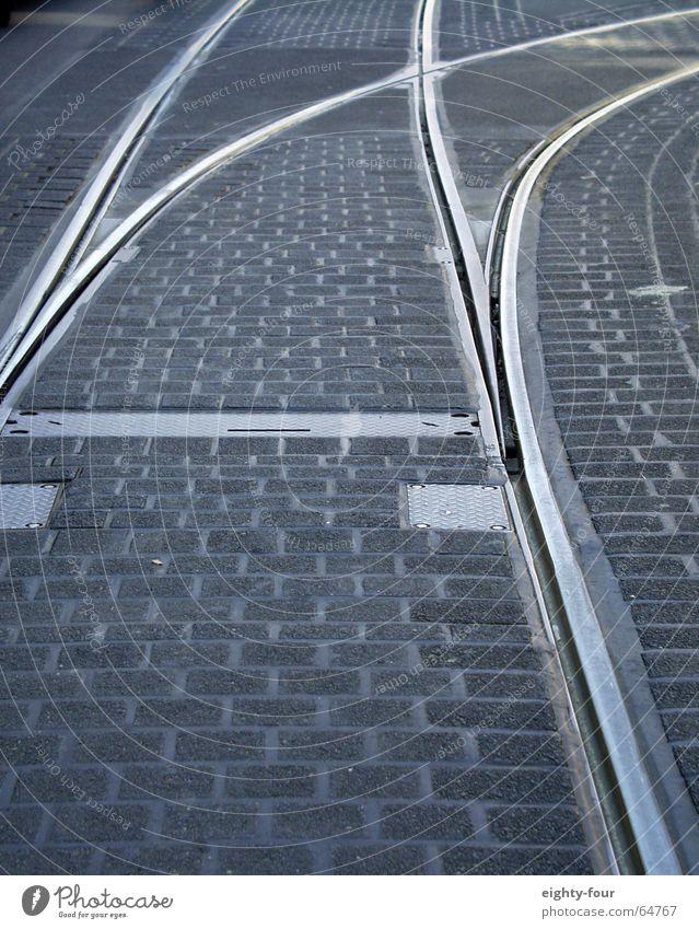 Street Gray Concrete Transport Railroad Driving Asphalt Railroad tracks Cobblestones Tram Switch Lane markings