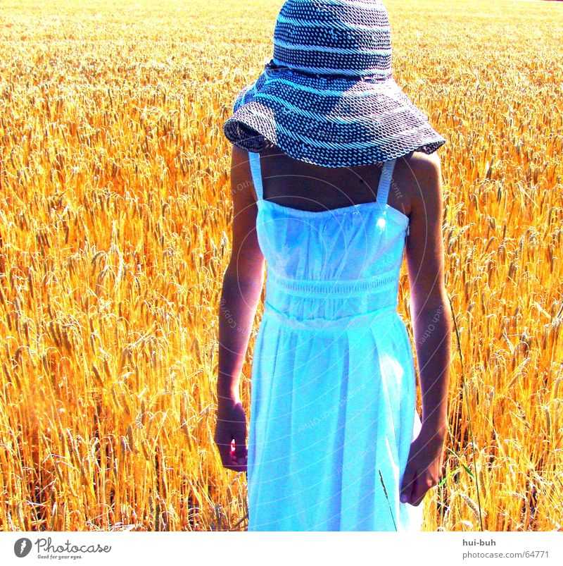 Human being Hand Girl White Sun Summer Yellow Far-off places Warmth Brown Field Arm Fingers Dress Physics Hat