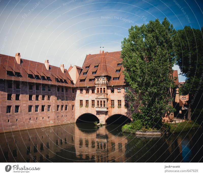 Holy Spirit Hospital Sightseeing Gothic period Sky Summer Beautiful weather tree River bank Nuremberg Downtown Old town bridge Manmade structures