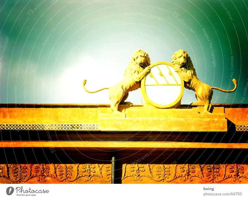 two lions Lion Coat of arms Signs and labeling Ornament Zoo Stucco Tails Downspout Aristocracy Monarchy King Pharaohs Castle Historic Landmark Monument Art