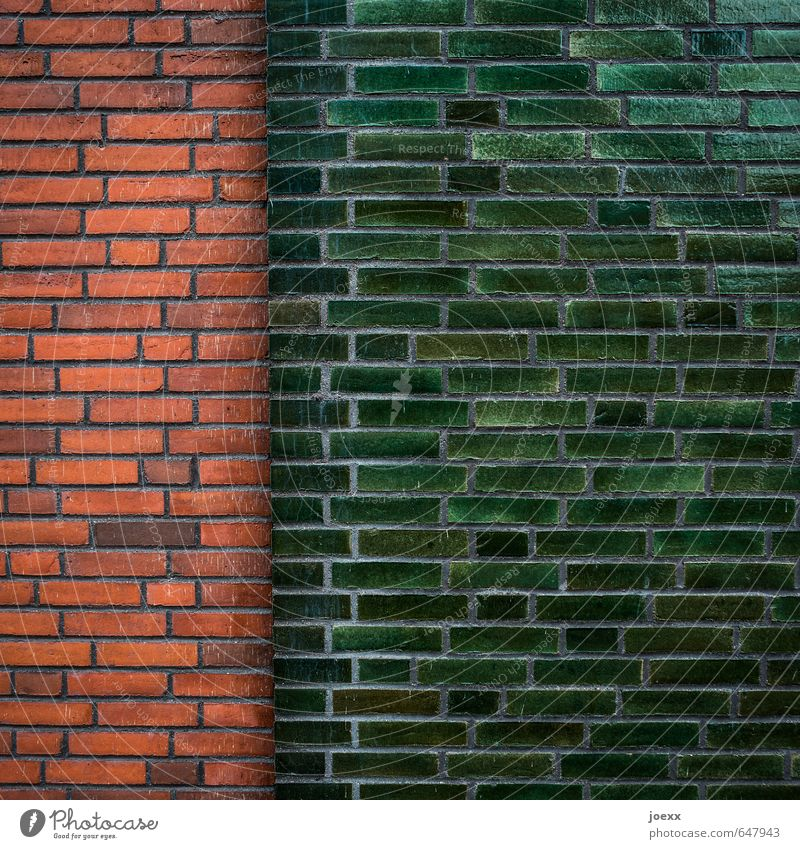 majority Wall (barrier) Wall (building) Facade Esthetic Historic Long Brown Green Red Network Brick Seam Colour photo Exterior shot Detail Pattern Deserted Day