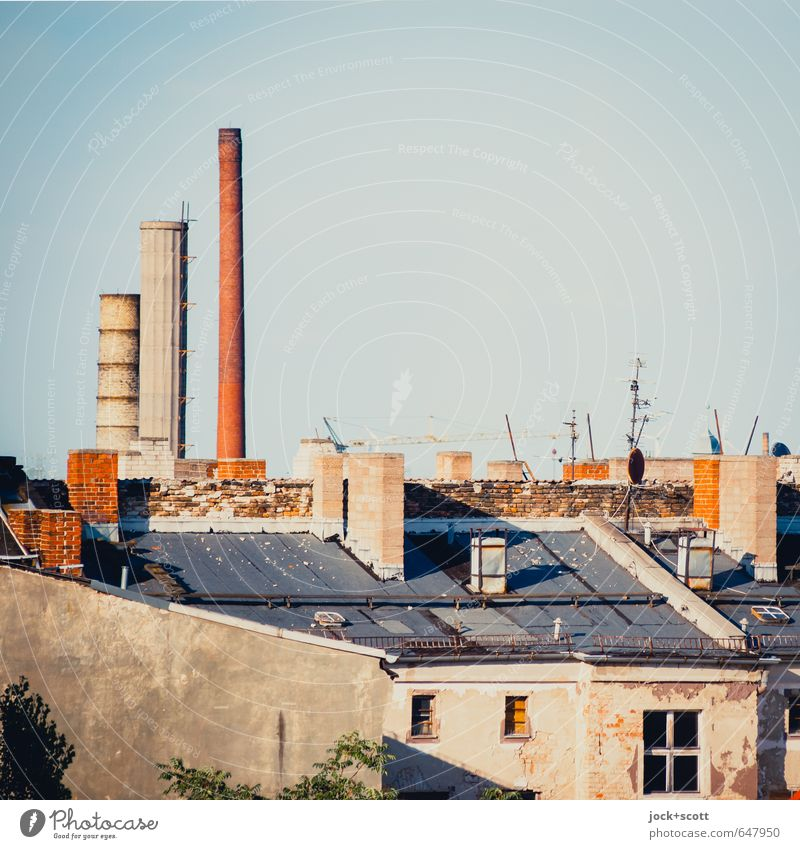 Schlöte Cloudless sky Prenzlauer Berg Factory Window Antenna Satellite dish Fire wall Above Nostalgia Symmetry Environmental pollution Transience Roof Chimney