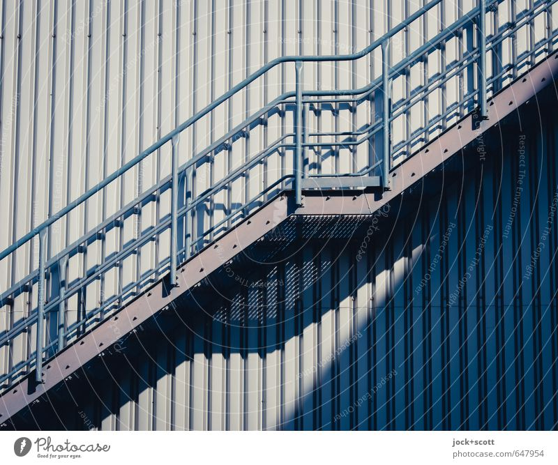 raise & descend Energy industry Industry Beautiful weather Manmade structures Stairs Banister Landing Metal grid Emergency exit Line Stripe Warmth Gray Moody