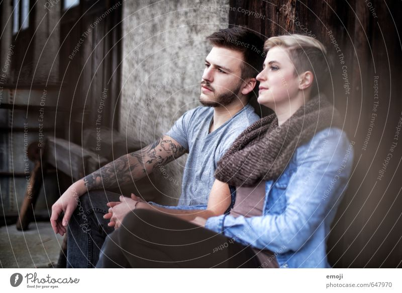 One. Masculine Feminine Young woman Youth (Young adults) Young man Friendship 2 Human being 18 - 30 years Adults Hip & trendy Uniqueness Sit Colour photo
