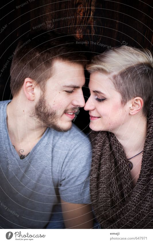 young modern couple, eyes closed, sensual Masculine Feminine Young woman Youth (Young adults) Young man Couple 2 Human being 18 - 30 years Adults Hip & trendy