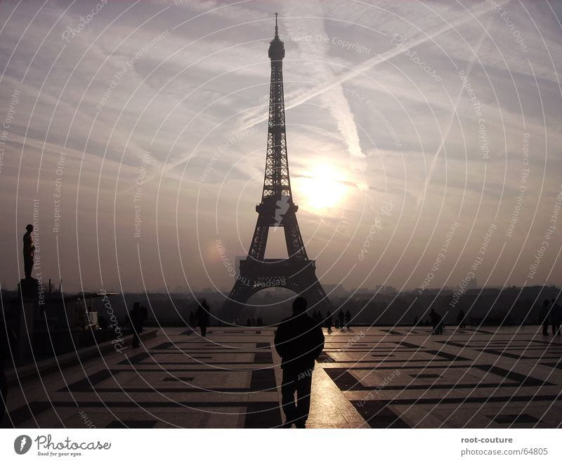 Never do it without a Parisian. Vacation & Travel Trip Sightseeing Sun Sky Sunrise Sunset Spring Fog France Europe Tower Manmade structures Architecture