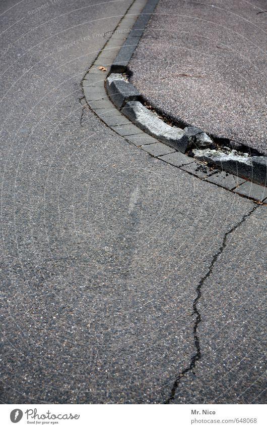 City Street Lanes & trails Gray Gloomy Concrete Broken Change Round Asphalt Sidewalk Decline Traffic infrastructure Crack & Rip & Tear Pavement Curve