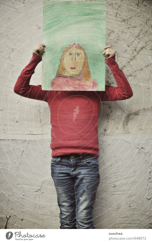 self-portrait Feminine Child Girl Infancy Life Body Head Face Arm Hand 8 - 13 years Art Artist Painter Work of art Painting and drawing (object) To hold on