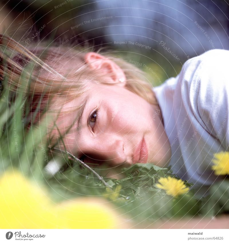 Child Nature Youth (Young adults) Girl Flower Green Plant Vacation & Travel Eyes Yellow Relaxation Meadow Blossom Grass Dream Mouth