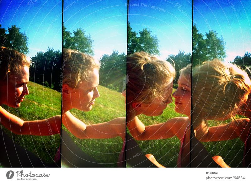 naughty Woman Kissing Love Summer Blonde Row Green Tree Lake Meadow Tankumsee Lake Lower Saxony Germany Lomography Sun sunshine supersampler grass Lawn