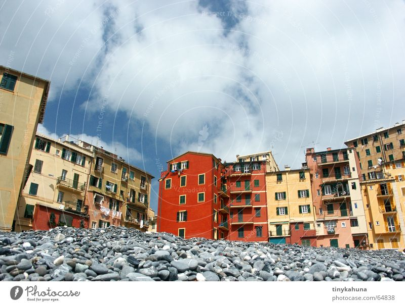 Camogli Liguria Italy Beach Pebble House (Residential Structure) Multicoloured Mediterranean Balcony Narrow Worm's-eye view Clothesline Sky Old Old town