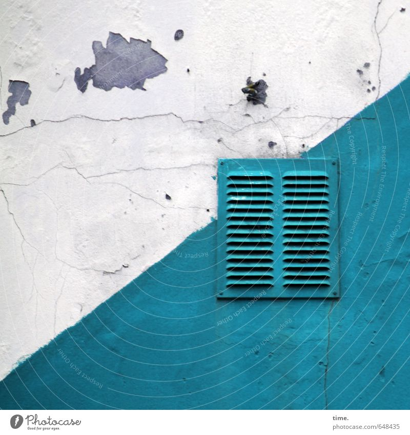 City Old White Wall (building) Wall (barrier) Facade Arrangement Transience Broken Change Decline Turquoise Services Trashy Sharp-edged Hollow