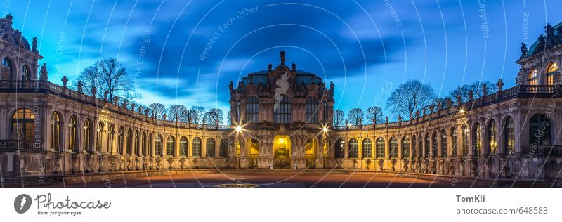 Dresden Kennel Capital city Old town Castle Places Architecture Facade Tourist Attraction Landmark Monument Culture Zwinger Twilight Saxony Panorama (Format)