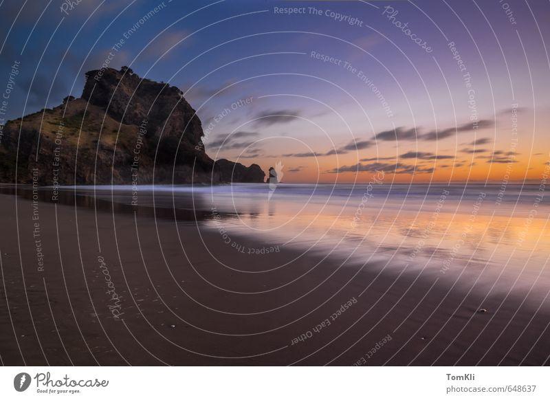 Vacation & Travel Blue Water Summer Sun Ocean Loneliness Relaxation Landscape Clouds Beach Black Coast Sand Orange Waves