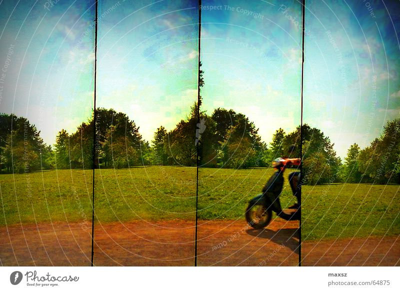 Fast, faster, fastest Scooter Row Summer Sun Clouds Green Tree Hannover Lomography sunshine Sky Blue Lanes & trails welfen garden