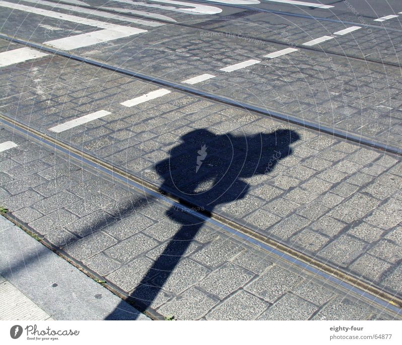track_study_08 Asphalt Concrete Railroad tracks Tram Driving Transport Gray Curbside Traffic light Street Cobblestones Shadow eighty-four Lane markings